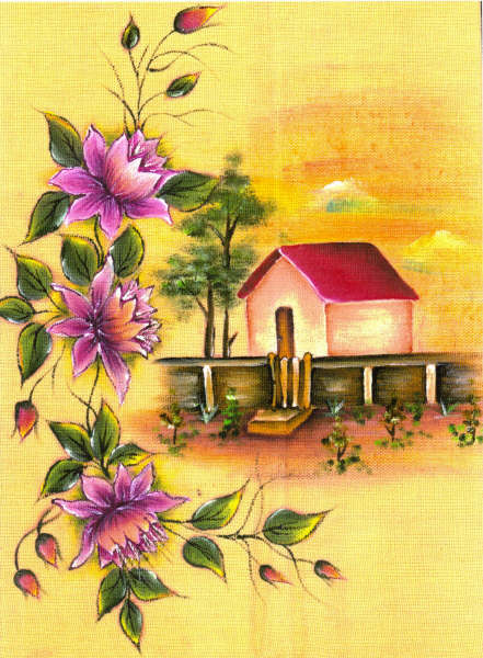 pintura em tecido paisagem casa