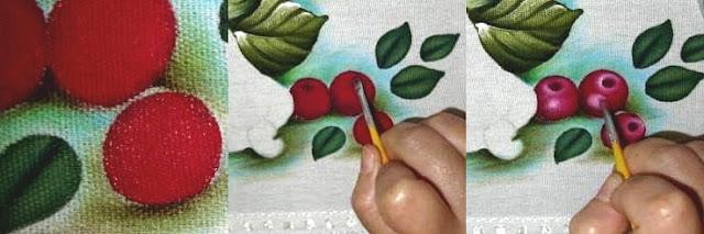 como pintar cereja passo a passo