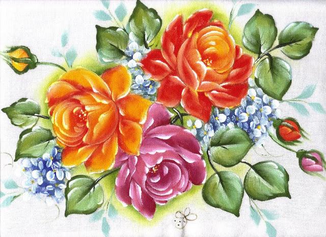 pintura em tecido pano de prato com rosas