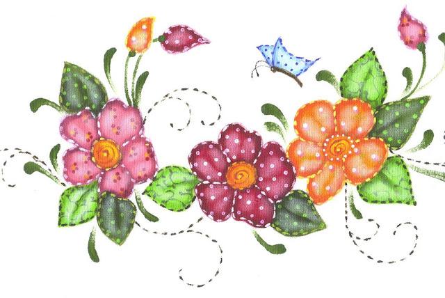 pintura em tecido pano de prato flores country