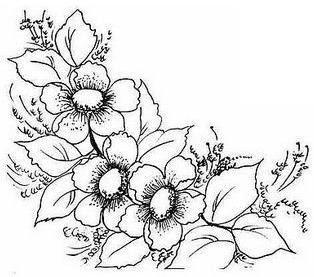 risco pintura em tecido flores molde para pintar