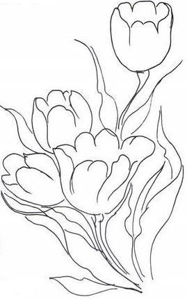 pintura em tecido risco tulipas