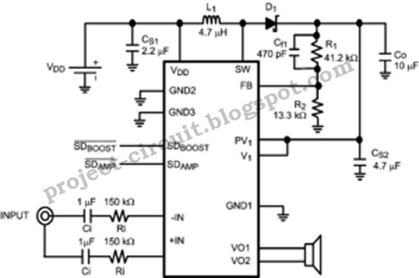 free project circuit diagram  boosted class d audio power