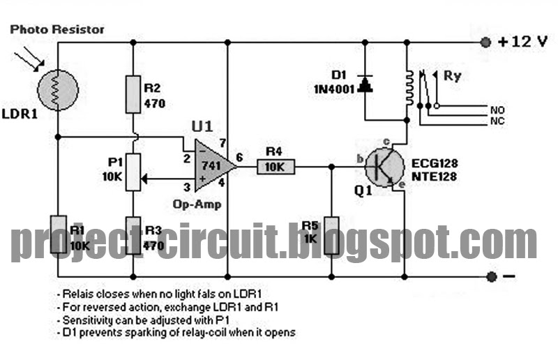 Free Project Circuit Diagram: Light Sensor Circuit Using