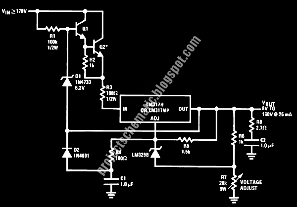 Free Project Circuit Schematic: Precision High Voltage Regulator Power Supply