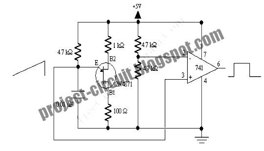 ujt relaxation oscillator with op amp squarer
