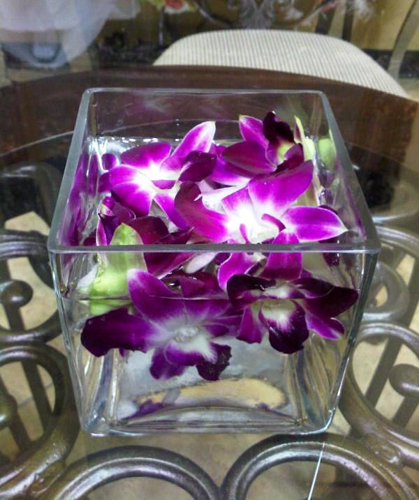 Floating Orchids In Water Square Vase