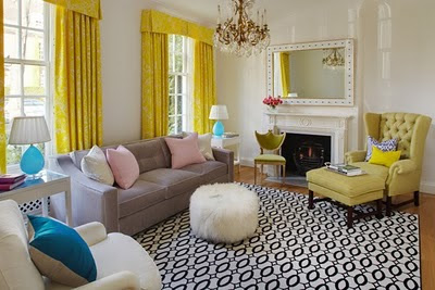 marvellous turquoise yellow living room | The Glam Lamb: Yellow and Turquoise Living Room