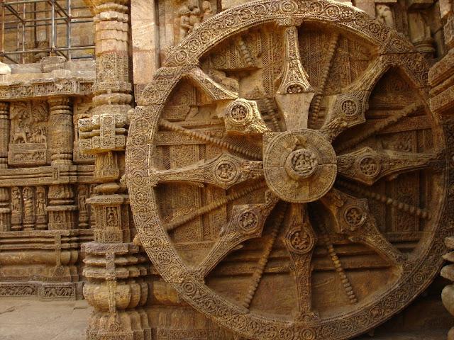 Konark Sun Temple Orissa Odisha stone carvings travel tourism wheel