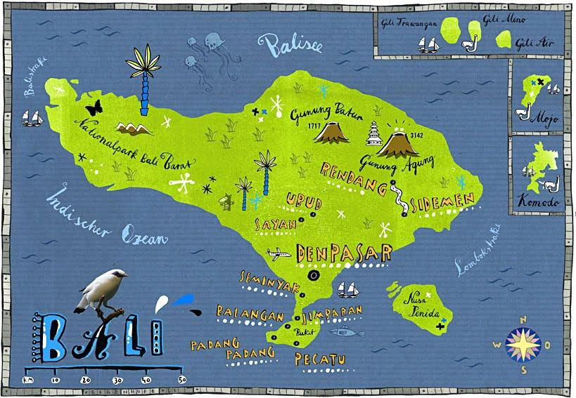 Tom Eigenhufe Illustration Landkarte Von Bali Fur Brigitte