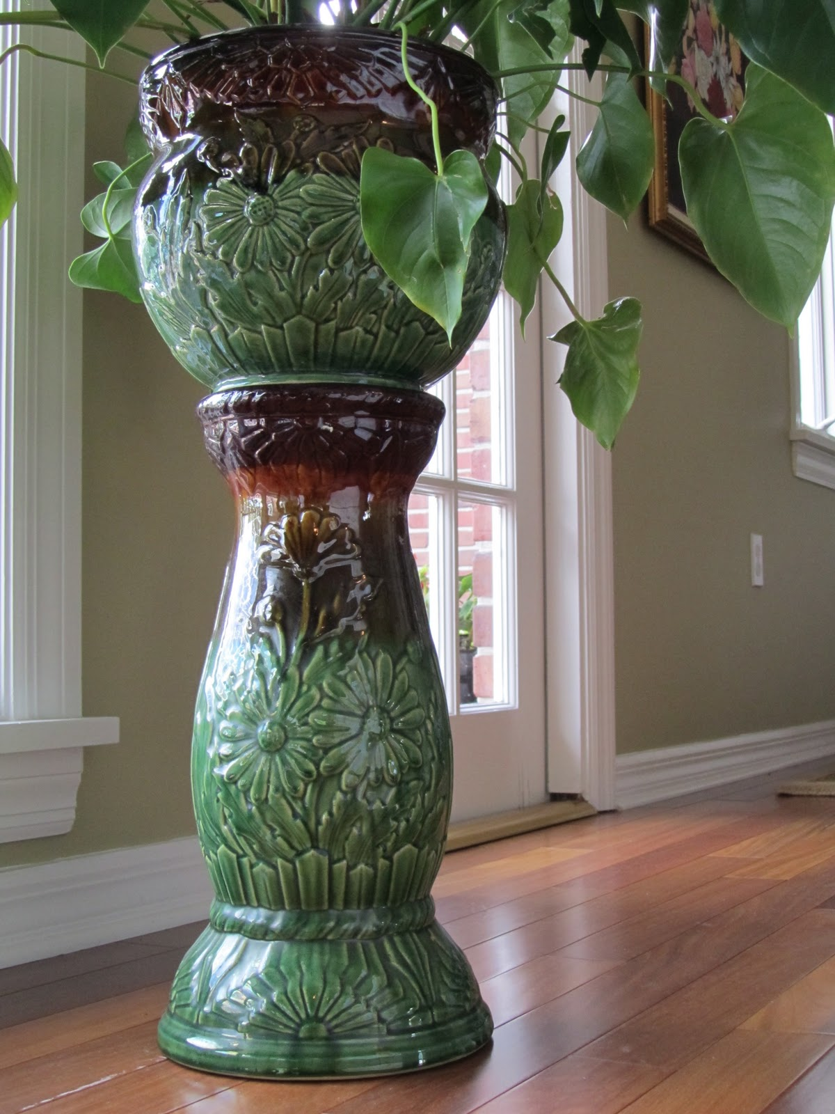 Connecting Pieces: Green Stoneware Pottery-Jardiniere