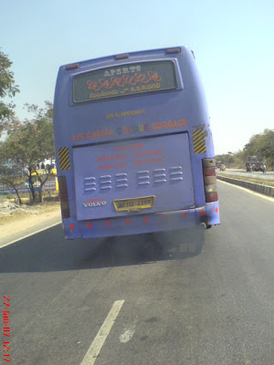 APSRTC Volvo B7R emitting thick exhaust