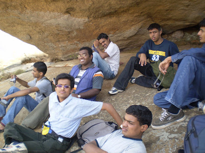 Shrinidhi Hande and friends resting for a while on top of Skanda giri hills