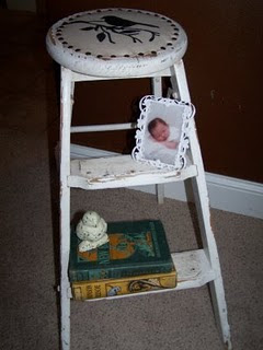 repurposed step stool shelf http://bec4-beyondthepicketfence.blogspot.com/2011/02/mama-told-me-theres-be-days-like-these.html
