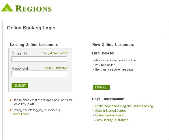 Regions Personal Banking Online Statements