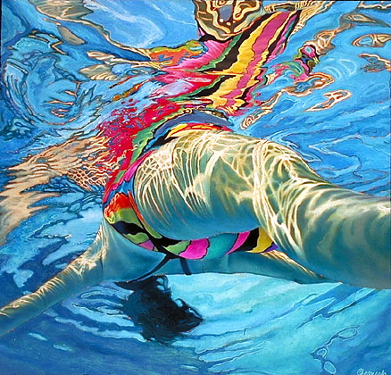 large pool art for interior water swimming lady swimmer
