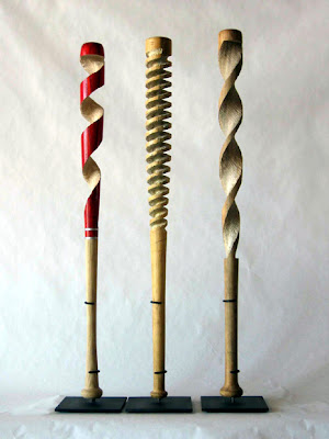 carved baseball bats by Peter Schuyff