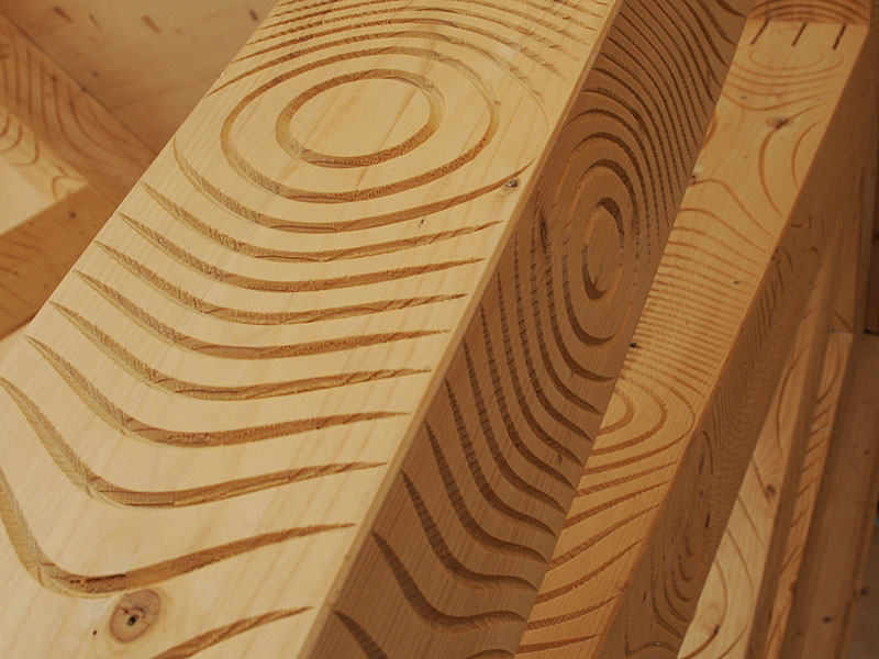 digitally carved wooden beams for the monte rosa hut