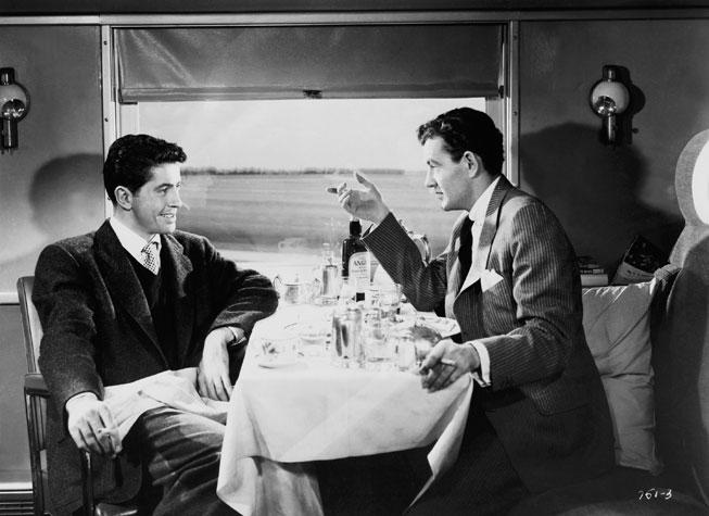 The original still of Farley Granger and Robert Walker from Strangers On A Train. Warner Brothers/Photofest.