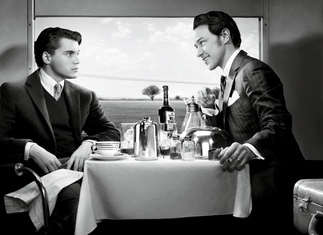 Emile Hirsch and James McAvoy recreate Strangers On A Train. Photograph by Art Streiber.