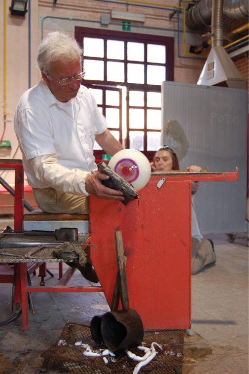 Making the custom glass eyeball lamps in Italy