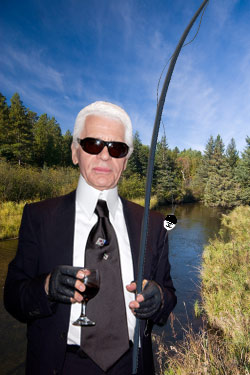 Karl Lagerfeld with his fishing rod.