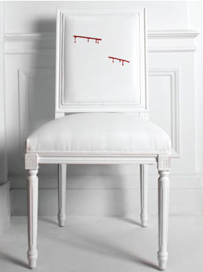 Hand Embroidered With Blood Design 10 Side Chairs Each $ 2500 2 Arm Chairs  Signed By Michael C Hall, Each $ 5000 Manufacturer: Martin Albert Interiors,  Inc