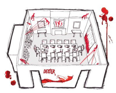 amy lau sketch of the DEXTER! dining room for The Showtime House