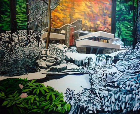 Eamon O'kane, Fallingwater seasons remix (painted whilst listening to In Utero by Nirvana), oil on canvas, 9ft x 9ft, 2008