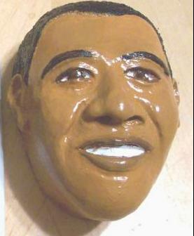 plaster cast mask of Obama by artists Nandi and Karimu