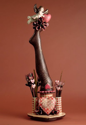 Valentine sculptures in chocolate by Joseph Schmidt