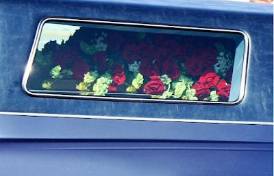 Michael Jackson's coffin in hearse