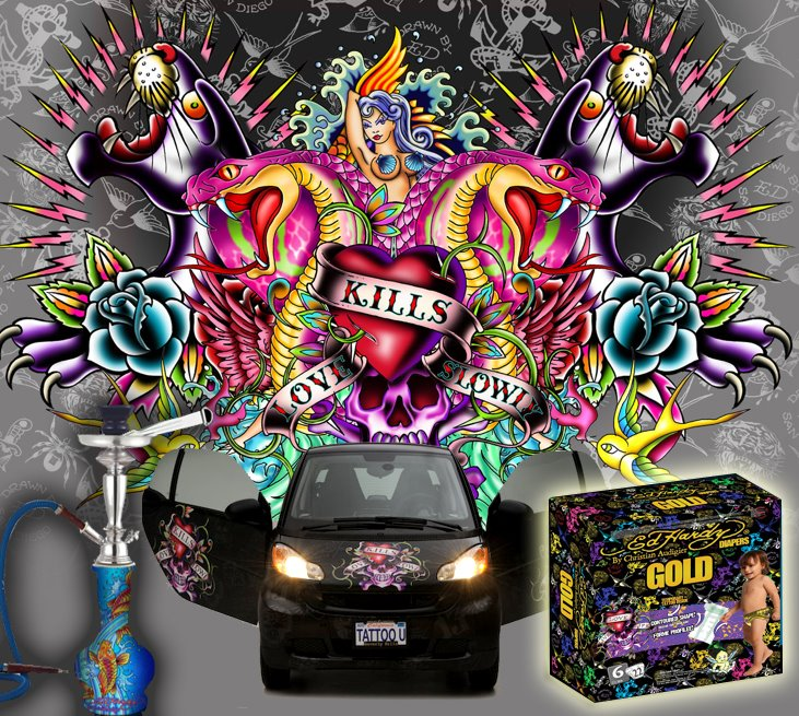 Above: Hookahs, Smart Cars And Diapers Are Among The Ed Hardy Branded  Products