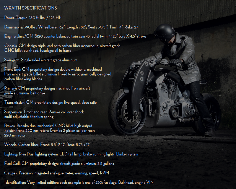 The tech specs of the Wraith motorcycle
