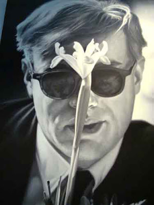 Hopper's portrait of Warhol with flower as an oil painting, 2006