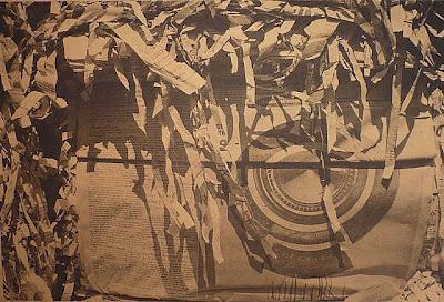 Dennis Hopper, Untitled (shredded paper with tire), goldtone, 1988