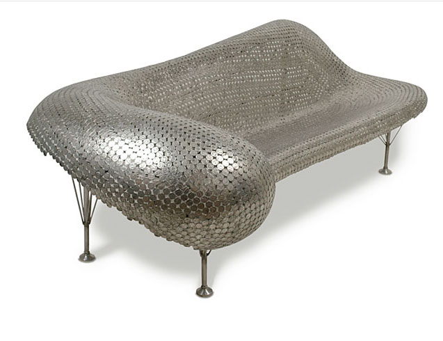 couch made of coins