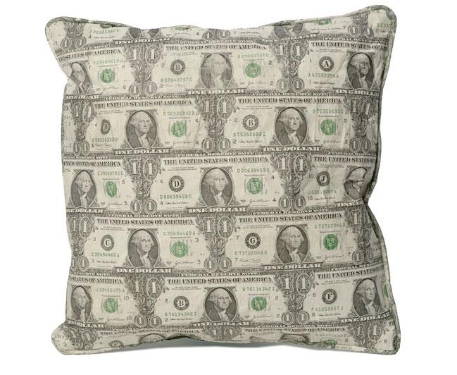 real dollar throw pillow