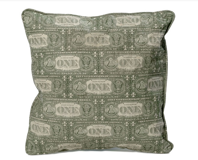pillow made with US currency