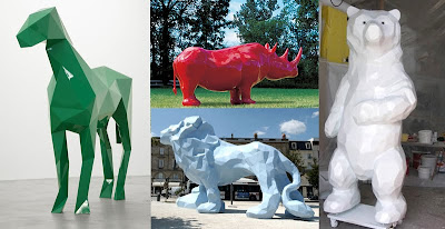 Veilhan's oversized faceted animal sculptures