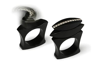 Blackened stainless steel and diamond rings
