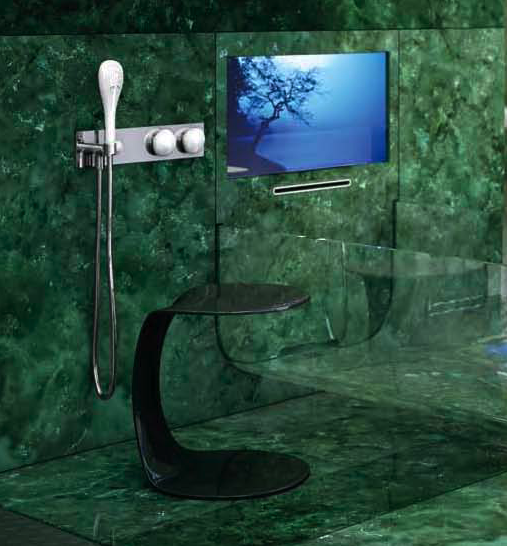 glass tub with tv