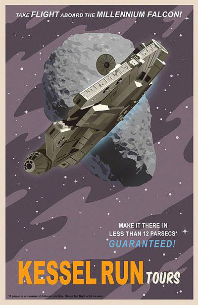 star wars vintage style travel poster Millennium Falcon