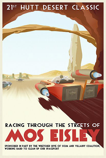 star wars vintage style travel poster Mos Eisley