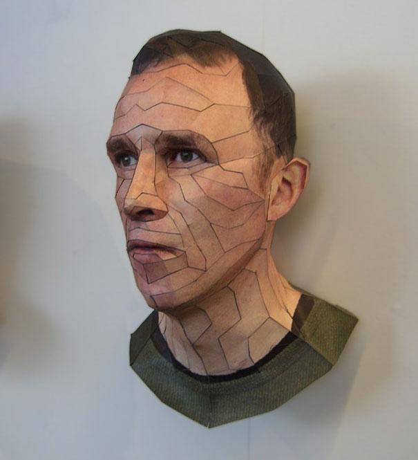 Bert Simons Paper Heads, self portrait