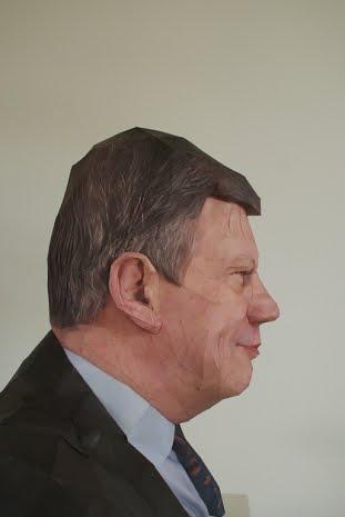 Mr. Ivo Opstelten, 2008, 3D paper sculpture by Bert Simons
