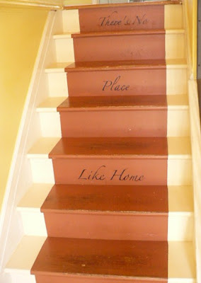 painted words on stair risers