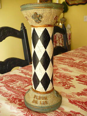 black and white harlequin candle stick