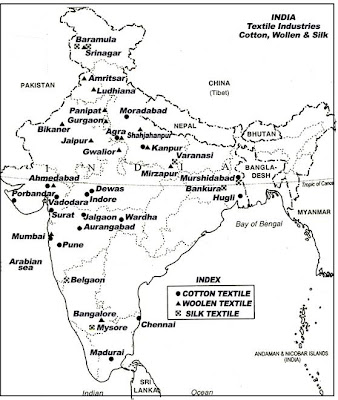 on the map of india,mark the cotton textiles,jute mills