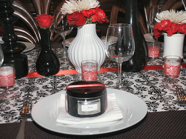 The table was set so that the place settings for the men were slightly different than the place settings for the women. I used decorative red damask packing ... & A Farewell Dinner Party Black White \u0026 Red - Celebrations at Home